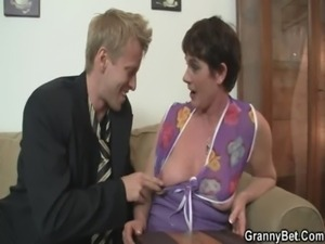 Old mom enjoys riding hard cock free