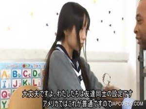 Japanese teen kissing at school
