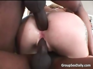 Hot blonde and ebony sluts are taking part3