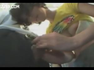 Mosaic;  girl in train gives geek handjob