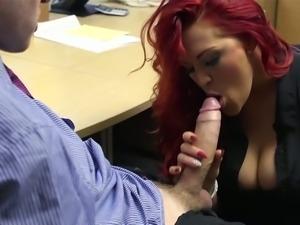 Busty redhead secretary slammed by her boss