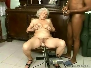 Naughty grandma fucks her black boyfriend