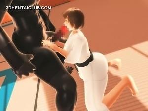 Karate hentai girl sucks monsters big dick