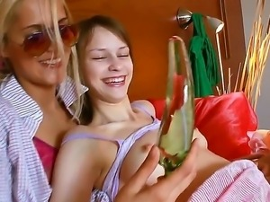 Watch the cool scene with two magnetic lesbian chicks. These babes are so...