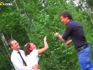 Drunk bride Madelyn fucked hard be her bridegrooms best friends in the forest