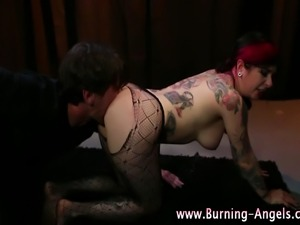 Emo fetish naughty slut gets anal beads action and loves it
