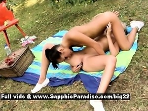 Devin and Sharon stunning lesbo girl toying and licking pussy outdoors