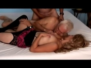 old men and a woman fuck