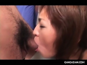 Perky jap MILF drilled from behind and mouth fucked