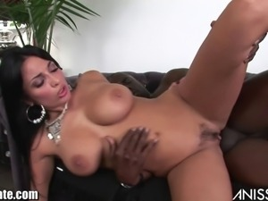 Anissa Kate jumps on a black guys who's bored on the couch!