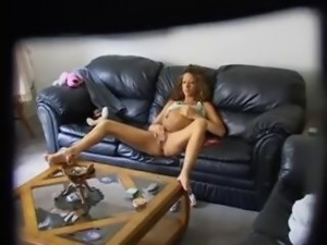 Teen playing with her pussy at home on hidden cam