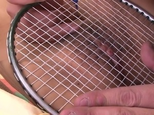 schoolgirl gets a badminton racket on her clit