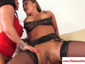 Ava Devine and Brandi Mae threeway fun with his hard cock