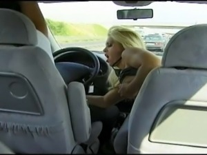 Super hot blonde MILF shouldn't drive with husband's best friend