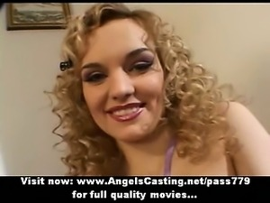 Long hair blonde bride toying dick