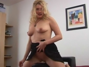 Horny blonde rides a sybian and enjoys every second of it.