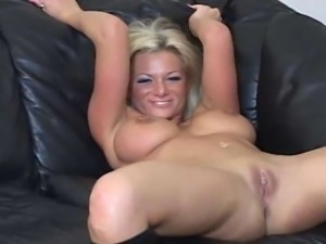 Naked blonde jerk off teacher is wild as she rubs her body on the couch with...