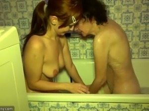 Granny and teen taking a bath together