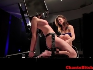 BDSM lezdom domina punishing her sub with vibrator