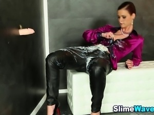 Glam clothed euro fetish hoe gets bukakked at gloryhole