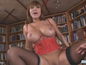 Busty Asian MILF Ava Devine sucks and fucks a hard cock!
