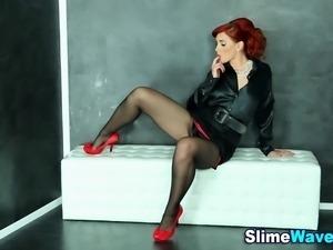 Glamorous euro hoe facialized in fake cum at gloryhole