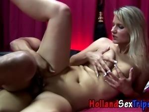Real ho in heels gets tits cumshot for cash in hi def