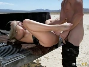 Passionate blonde Alexis Monroe withs sexy natural tits sucks cock and gets...