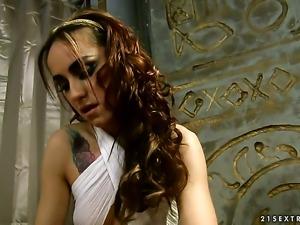 Blonde Kathia Nobili fulfills her lesbian desires with Leyla Blacks fingers...