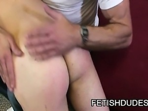Twink dude Tommy Coxx gets his ass slapped by Matt Sizemore.