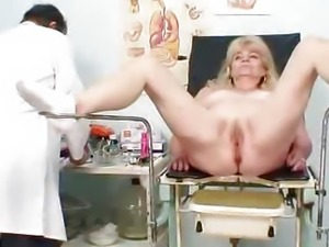 Blonde gran dirty puss test and enema