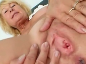 Blonde granny nurse gyno exam