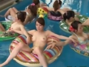 Japanese living doll licked in the pool