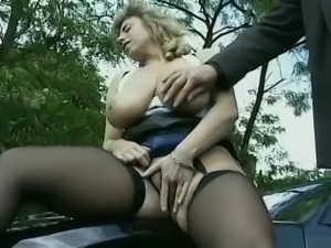 Blonde MILF banged on car