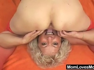 Aged amateur cougars both hirsute piss hole fucking each other with a plastic...