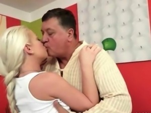Fat grandpa fucks hot teen blonde