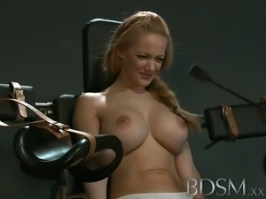 Slave girl with massive breasts gets it hard with orgasm from angry Mistress