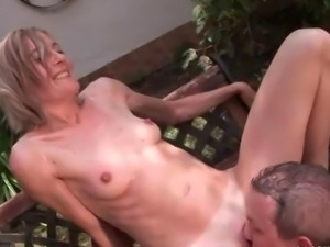 Guy and mature blonde fucking and pissing