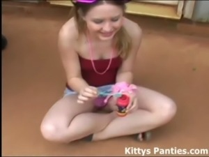 Blowing bubbles in my tiny little skirt free