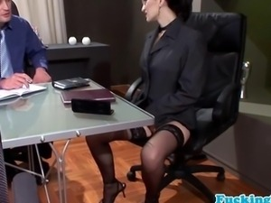 Euro business slut loves facial bukkake