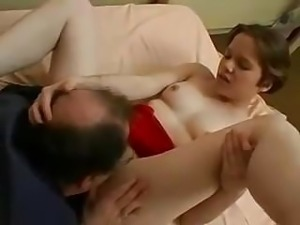 Young lass with short hair seduces good friend of her father