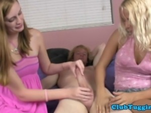 Tugging loving teenagers in threeway