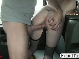 Babe smiles as her pussy is getting fuck by pervert driver