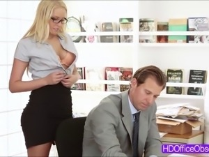 Hot blonde secretary Vanessa Cage gets fucked hard at t