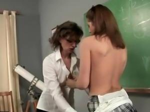 Busty student fucking her mature teacher