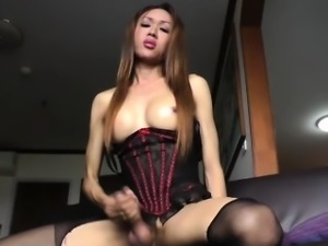 Asian ladyboy Apple gropes and jerks off