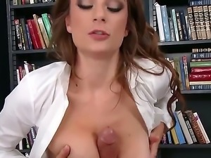 Slutty schoolgirl in a uniform takes a study break. Her teacher comes around...