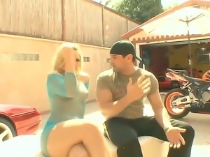Alexis texas porno is a blonde who is into bikes. She is wearing a slutty see...