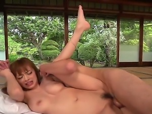 This sexy and busty japanese is really enjoying taking a cock up her holes....