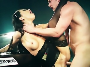 Asa Akira gets throat fucked by guys rock solid rod